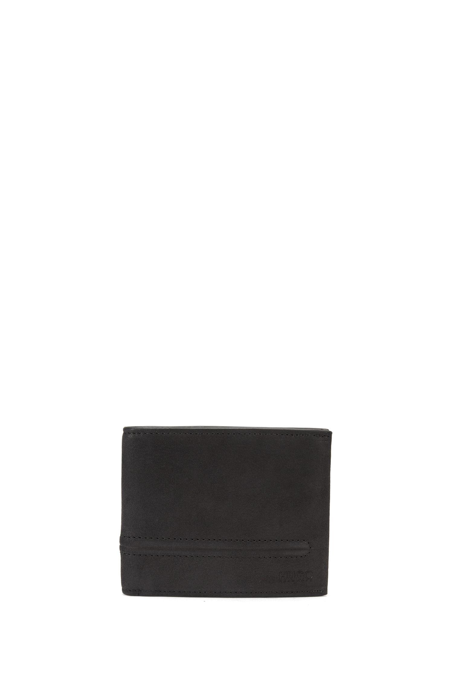 Bifold wallet in soft nubuck leather