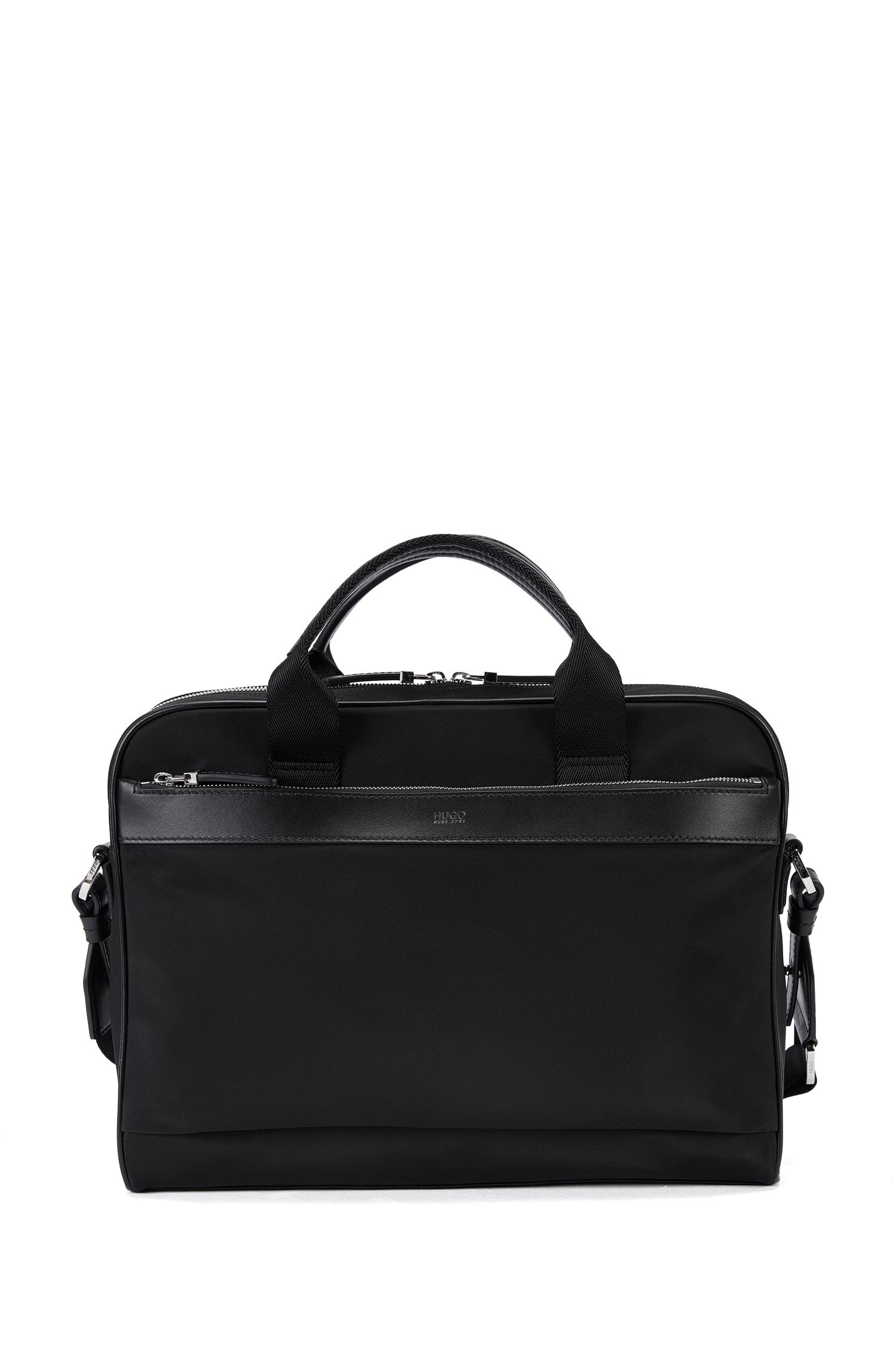 Nylon workbag with leather trim