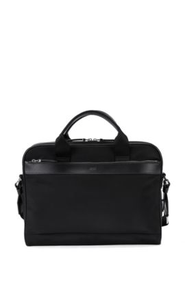 Nylon workbag with leather trim, Black