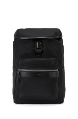 Nylon backpack with leather trim, Black