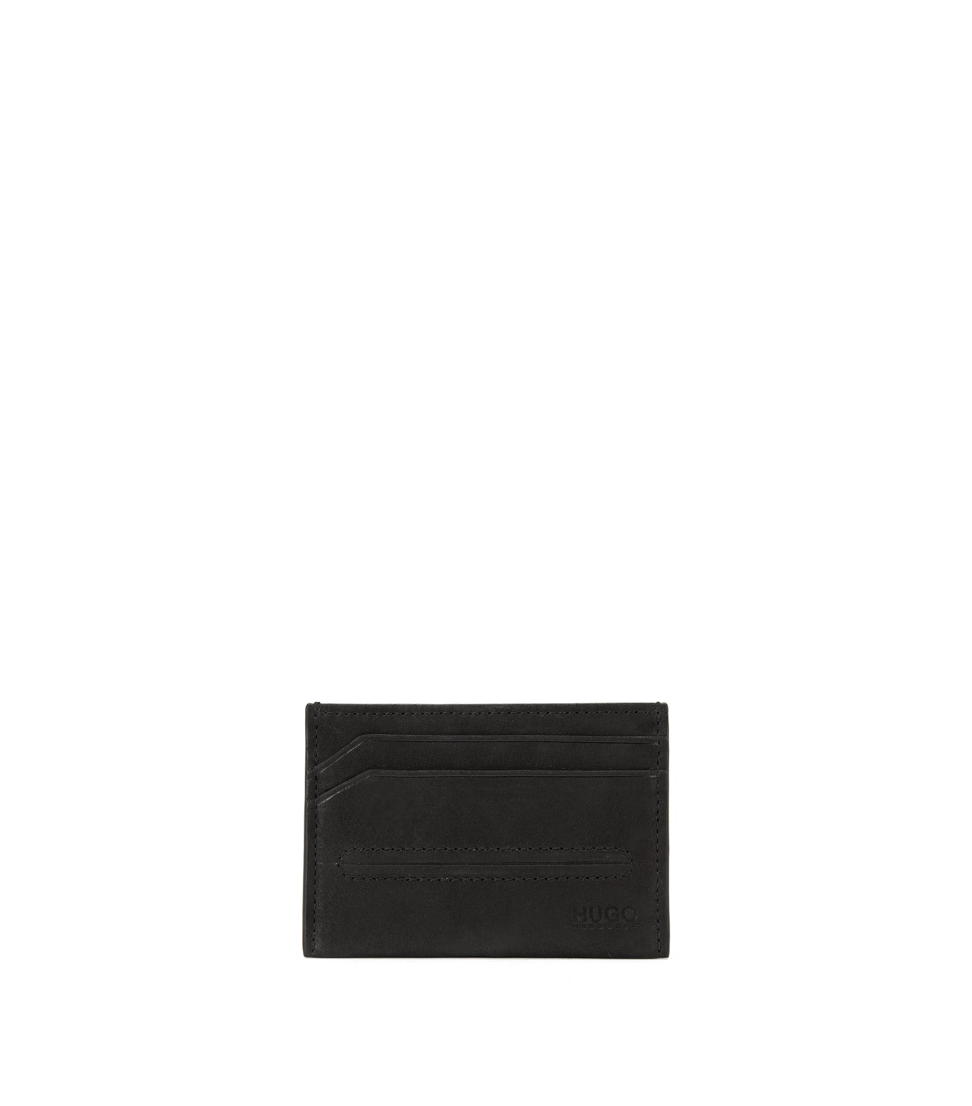 Leather card holder with bombé stitching, Black