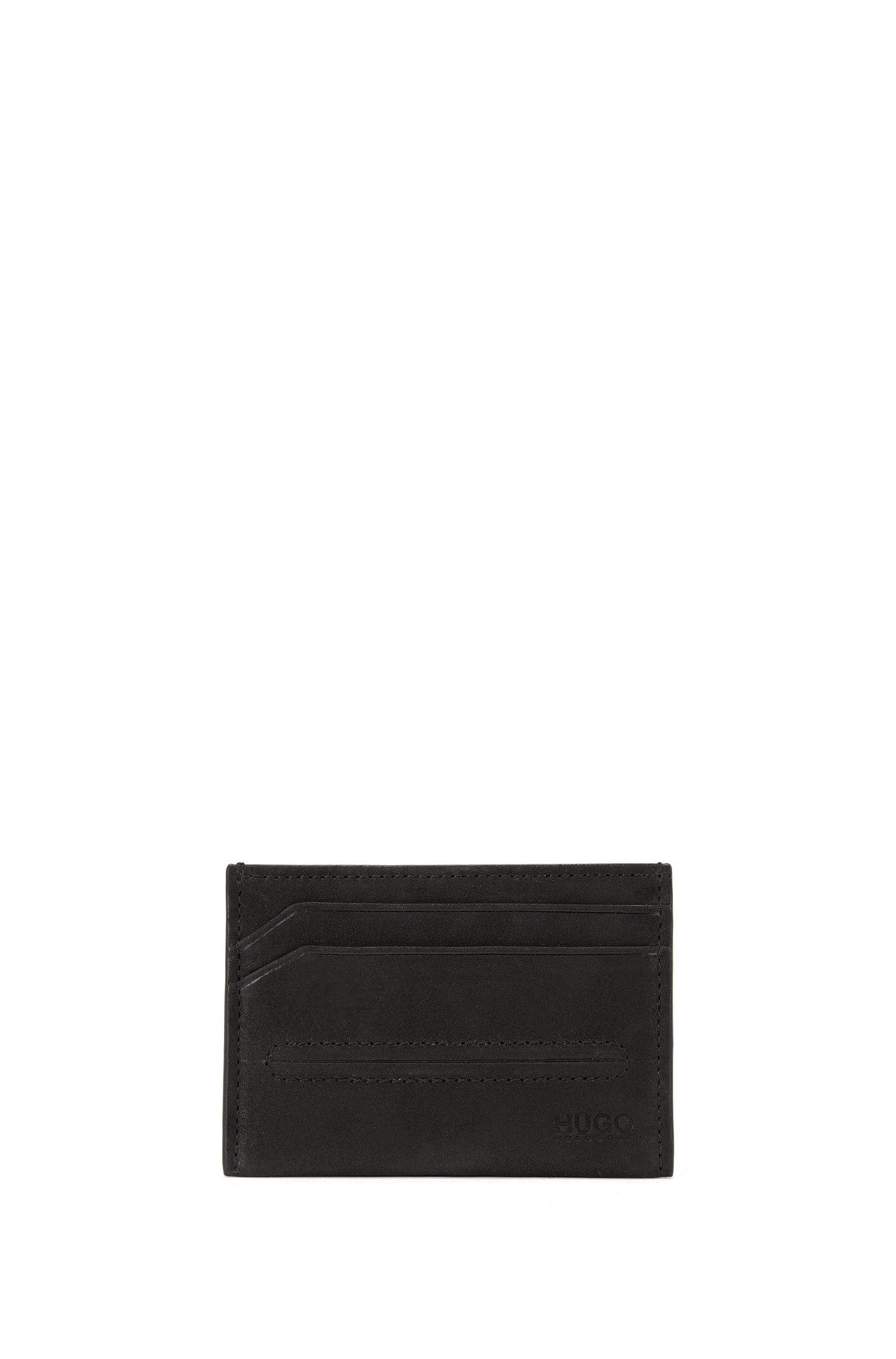 Porte-cartes en cuir orné d'une surpiqûre à effet bombé