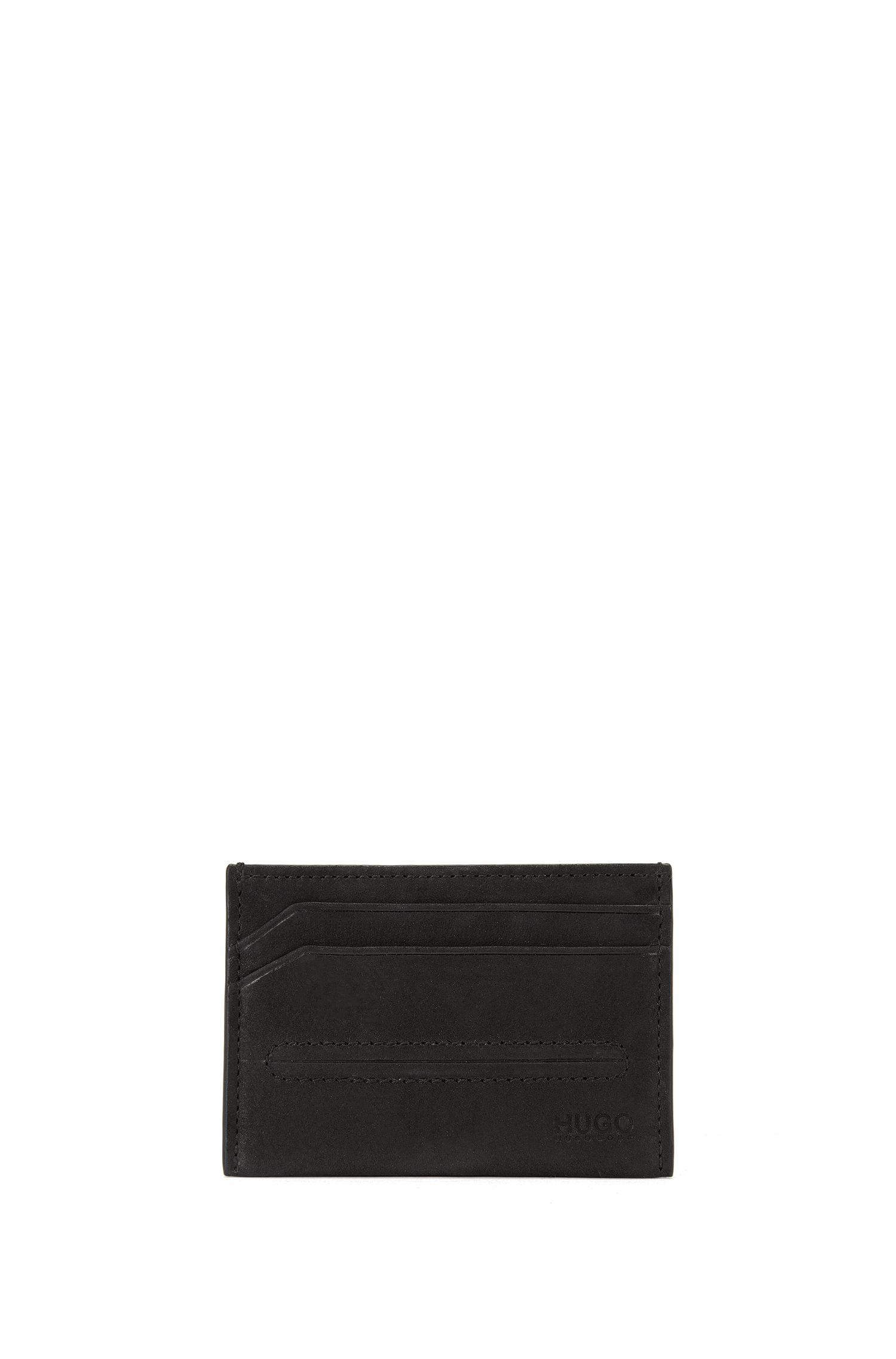 Leather card holder with bombé stitching