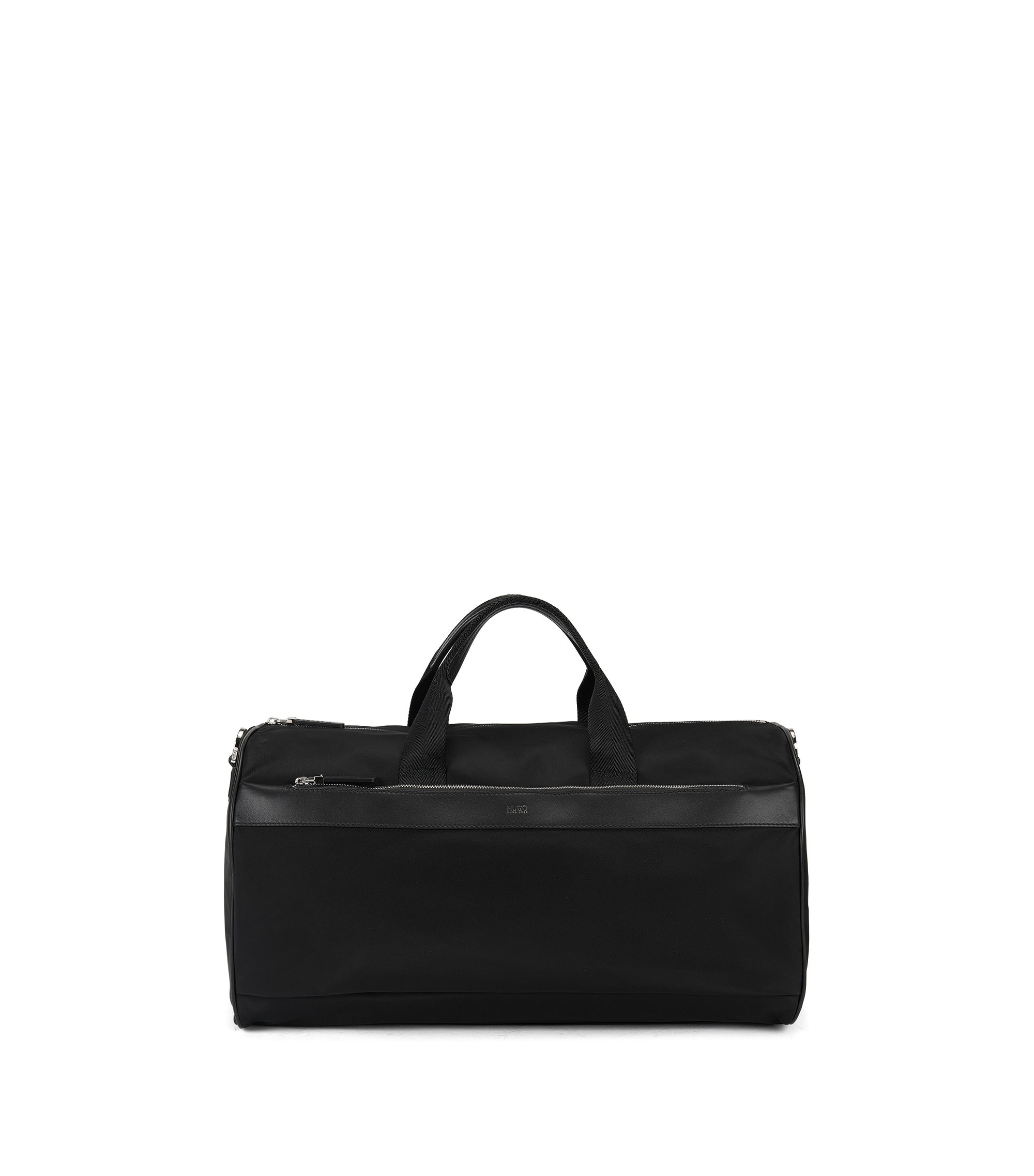 Technical fabric holdall with leather trim, Black