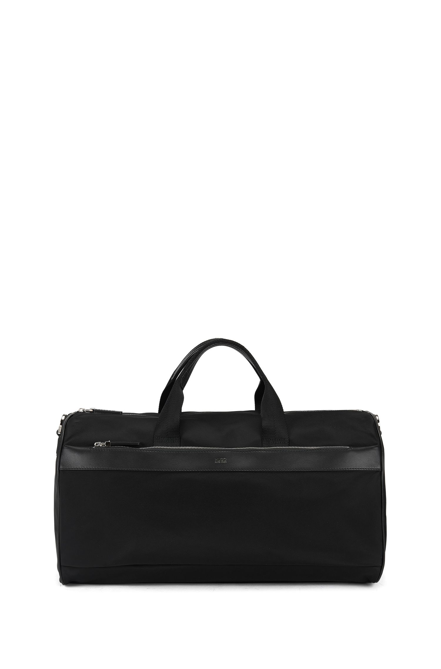 Technical fabric holdall with leather trim