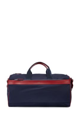 Technical fabric holdall with leather trim, Dark Blue
