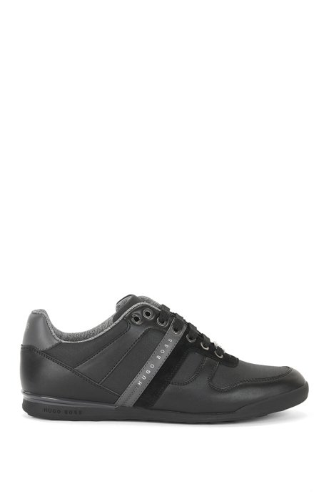 Low-top trainers in leather and coated denim, Black