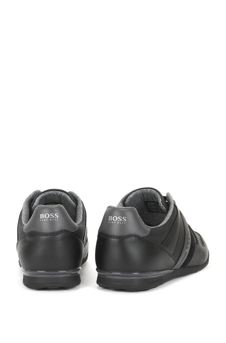Low-top trainers in leather and coated denim BOSS ftXHf8grzw
