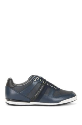 Low-top trainers in leather and coated denim, Dark Blue