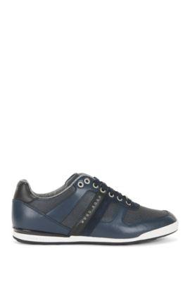 Lage sneakers van leer en gecoat denim, Donkerblauw