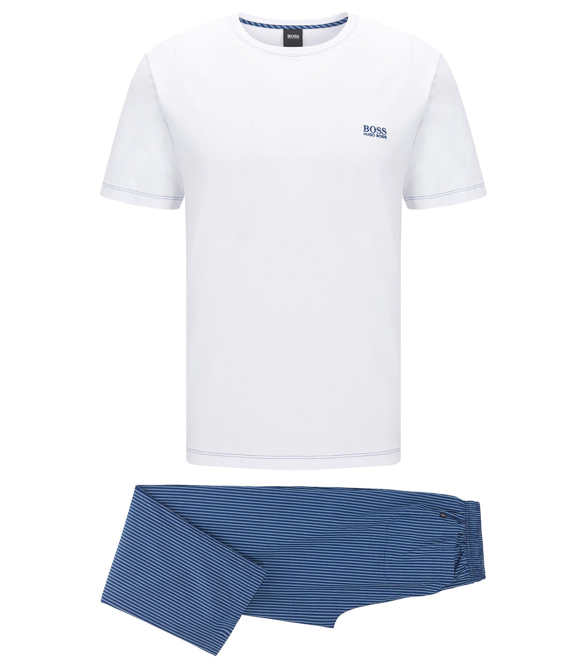 Regular-fit pyjama set in lightweight cotton, Dark Blue