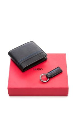 Leather wallet and key ring gift set, Black