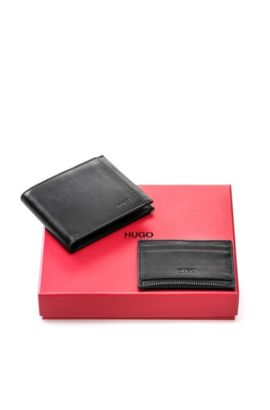 Leather wallet and card case set, Black