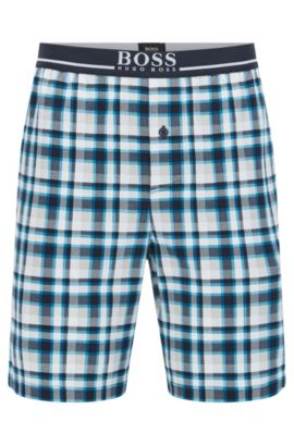 Regular-fit pyjama shorts in a bold check, Turquoise