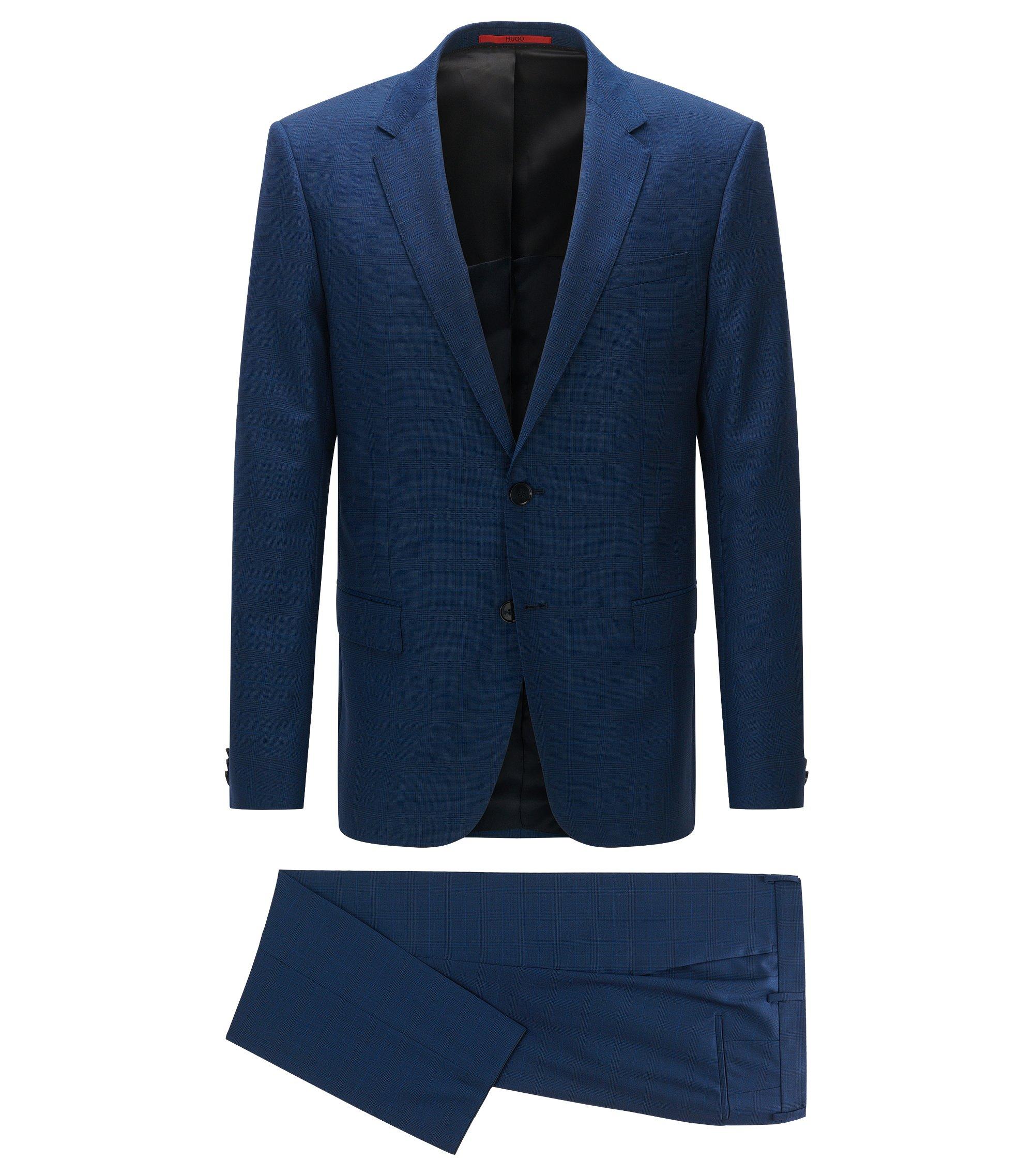Slim-fit kostuum van scheerwol met eenvoudig ruitdessin, Blauw