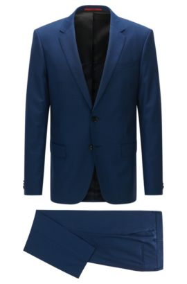 Slim-fit suit in plain checked virgin wool, Blue