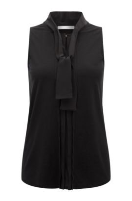 Regular-fit top with silk detail, Black
