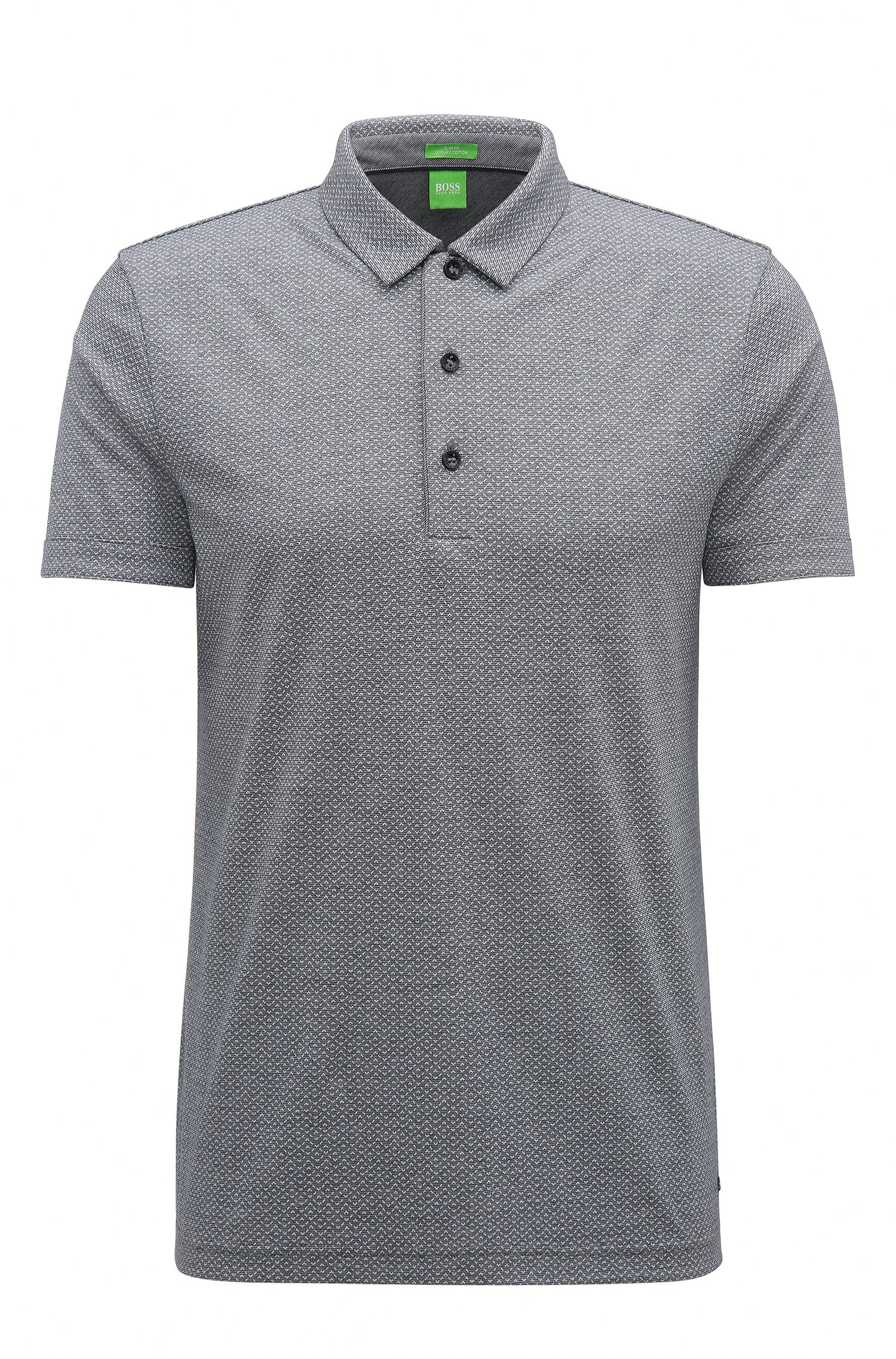 Slim-fit polo shirt in printed cotton