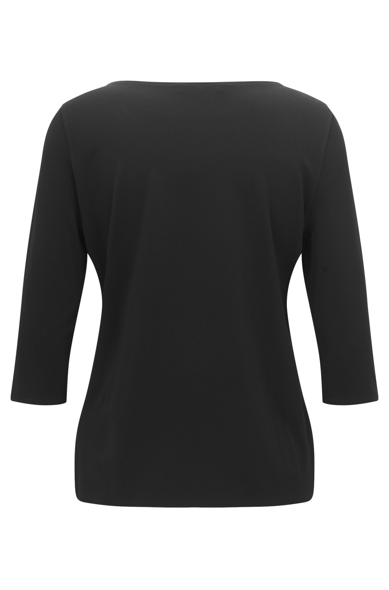 Regular-fit top in stretch crêpe jersey, Black