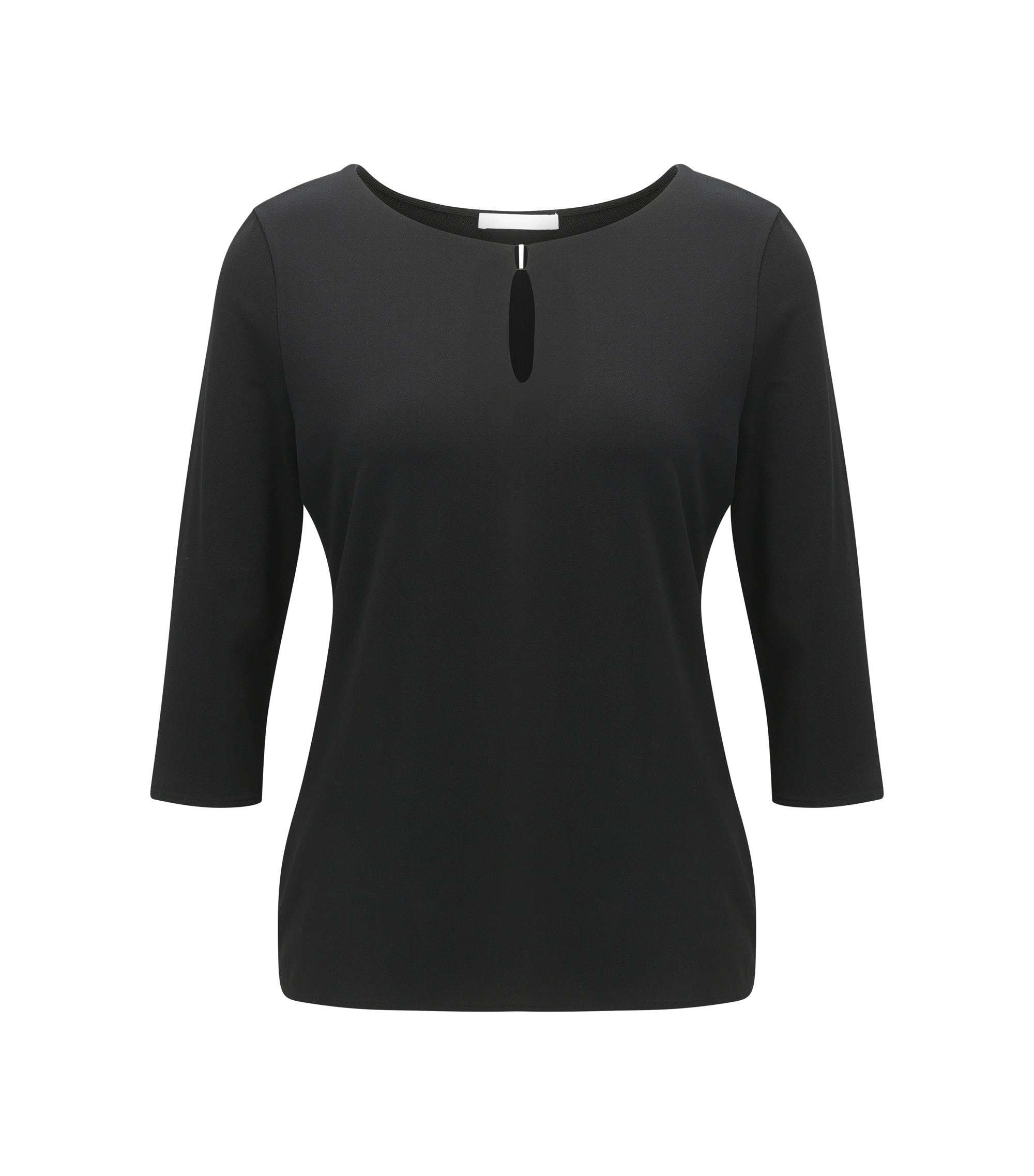 Regular-fit top van crêpe jersey met stretch, Zwart