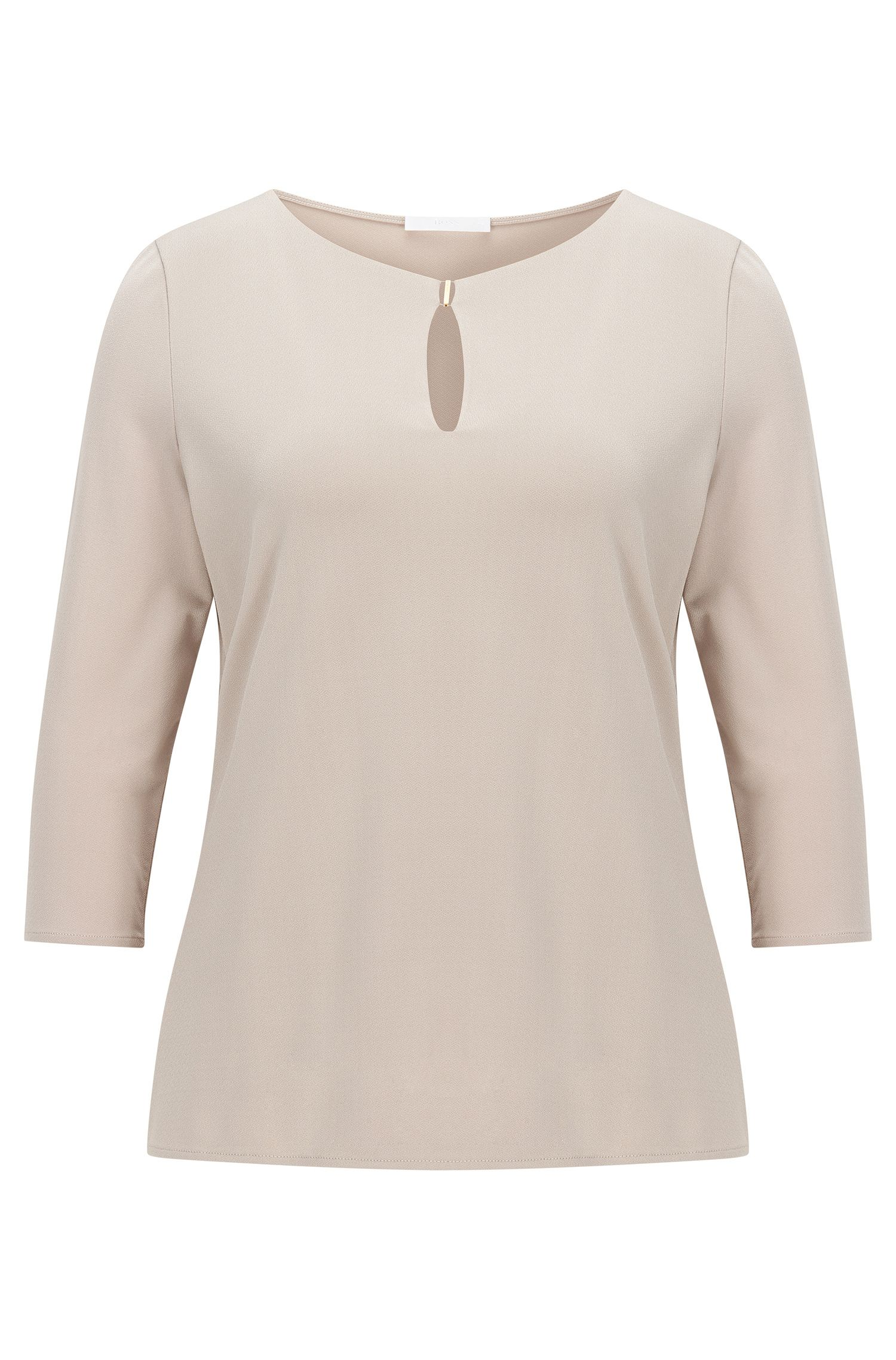 Regular-fit top van crêpe jersey met stretch