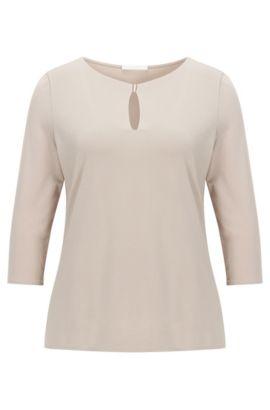Regular-fit top in stretch crêpe jersey, Beige
