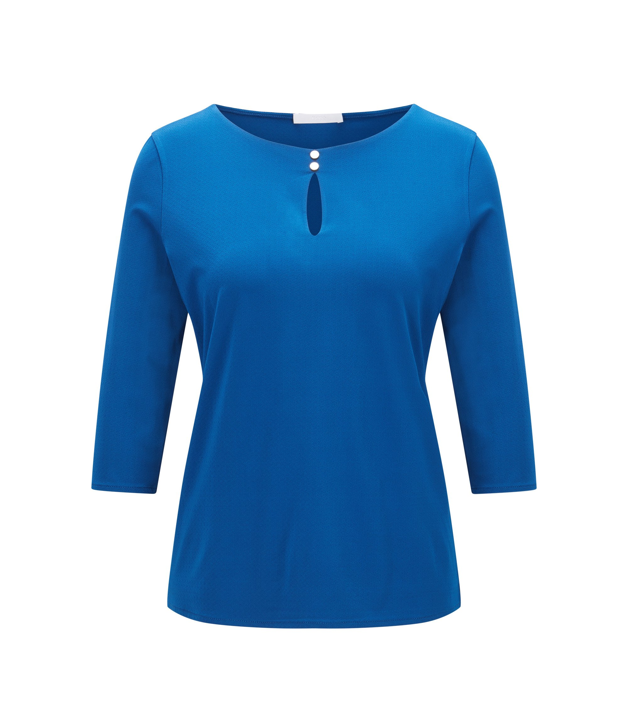 Regular-fit top in stretch crêpe jersey, Blue