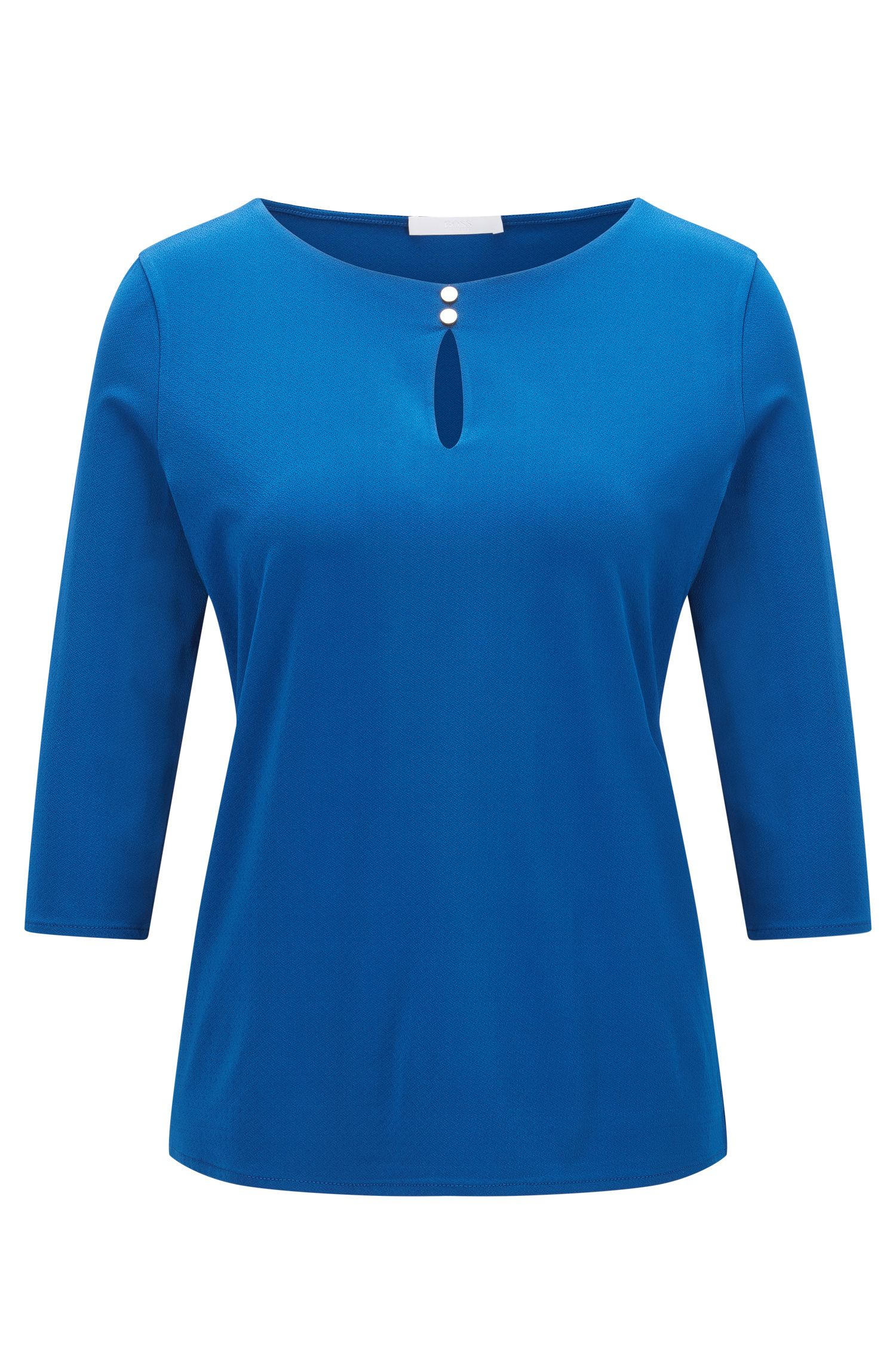 Regular-fit top in stretch crêpe jersey