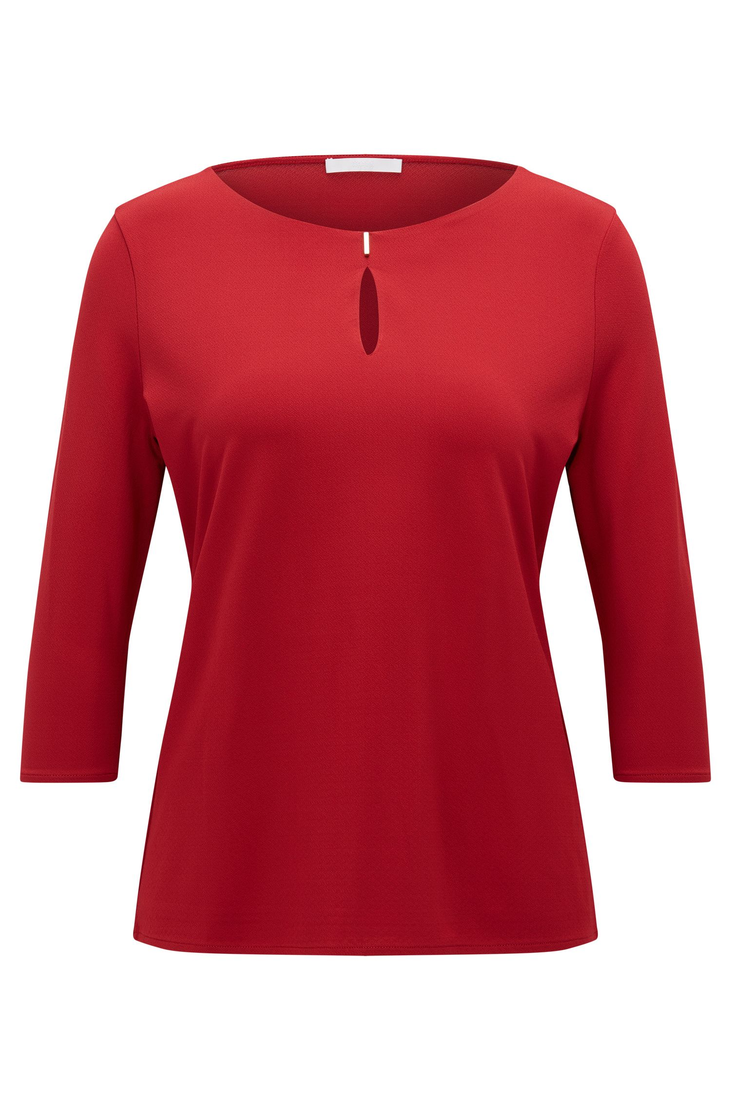 Regular-fit top in stretch crêpe jersey