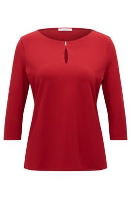 Haut Regular Fit en jersey crêpe stretch, Rouge