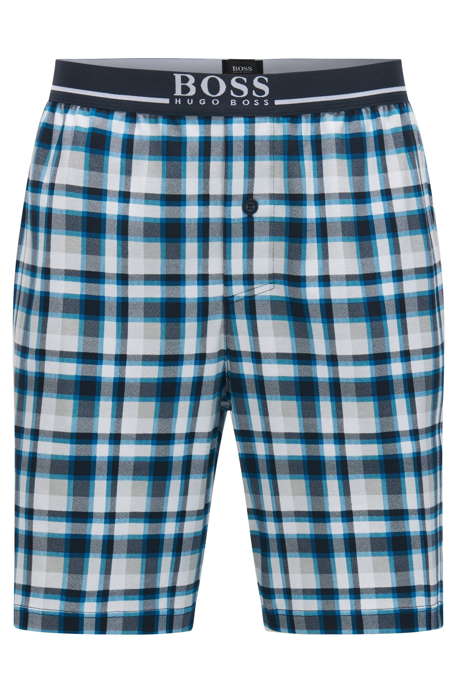 Checked pyjama shorts in interlock cotton