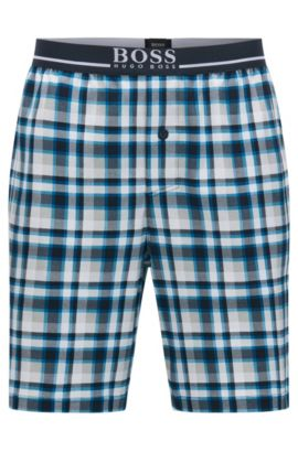 Checked pyjama shorts in interlock cotton, Turquoise
