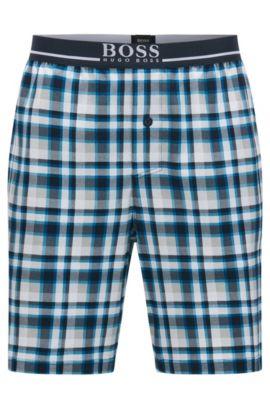 Shorts de pijama a cuadros en algodón interlock, Turquesa