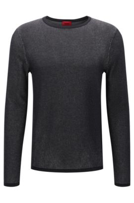 Relaxed-Fit Pullover aus zweifarbiger Baumwolle, Weiß