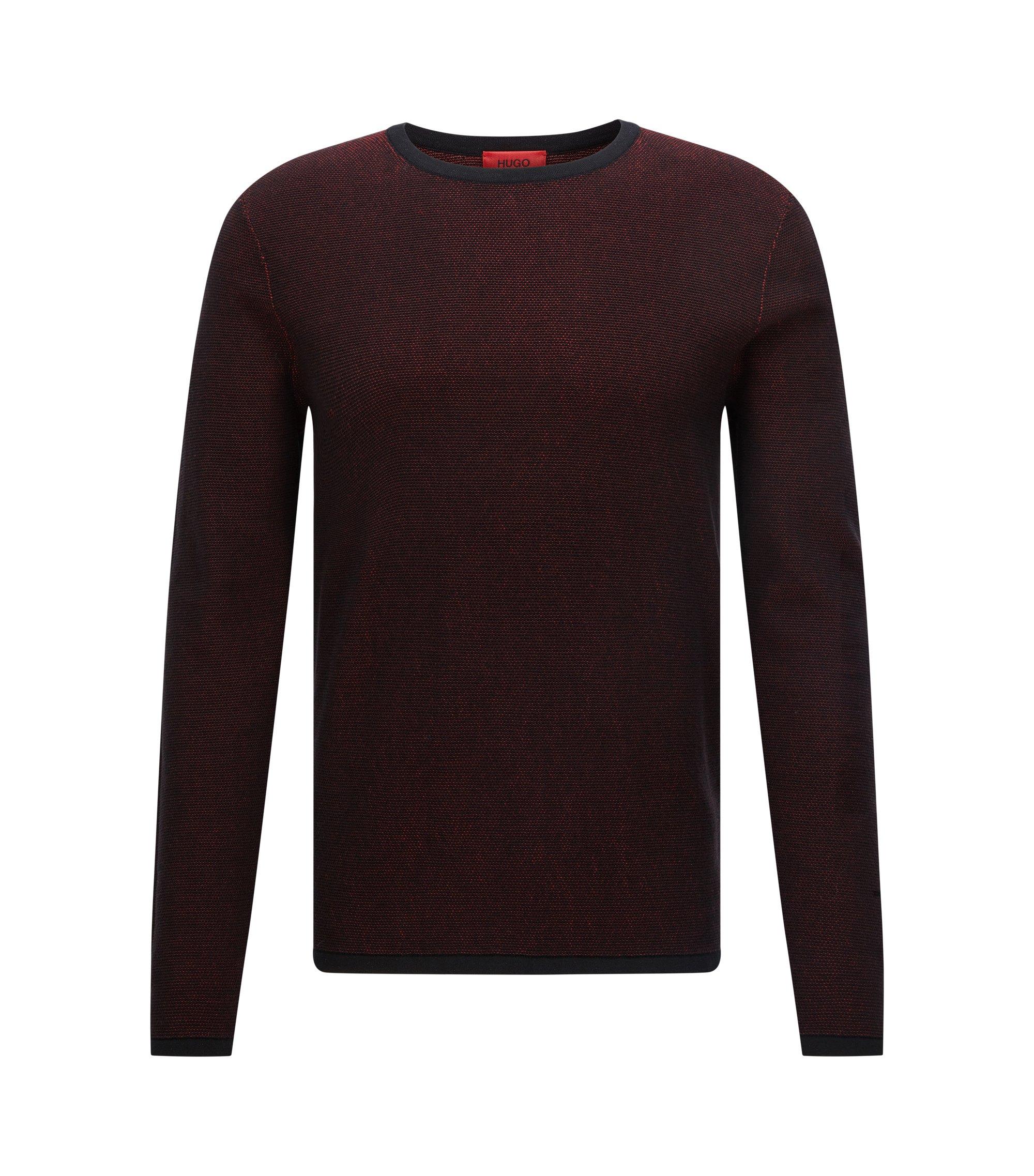Relaxed-Fit Pullover aus zweifarbiger Baumwolle, Dunkelrot