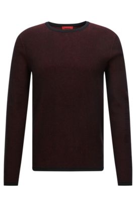 Pull Relaxed Fit en maille piquée bicolore, Rouge sombre
