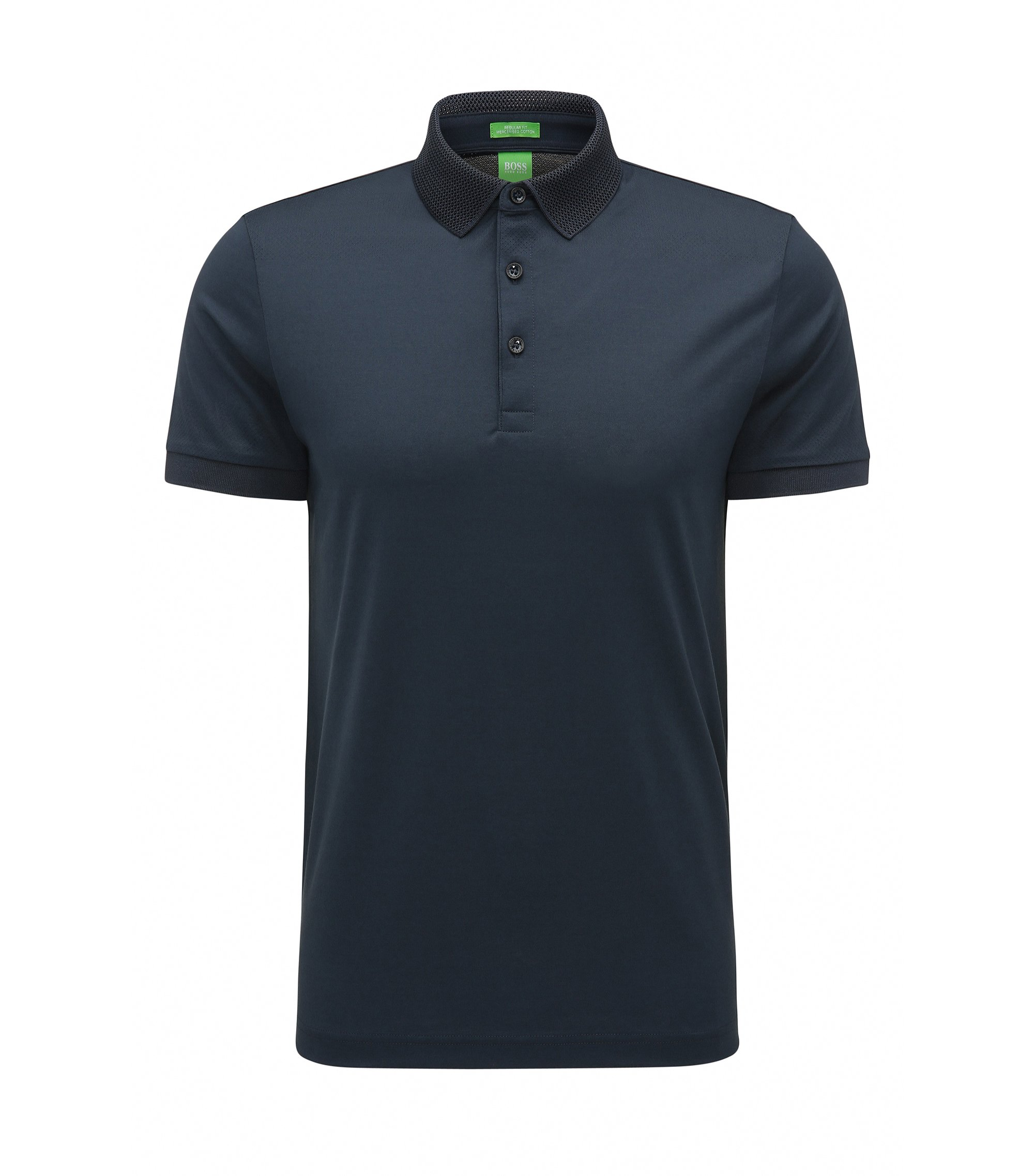 Regular-fit polo shirt in mercerised cotton, Dark Blue