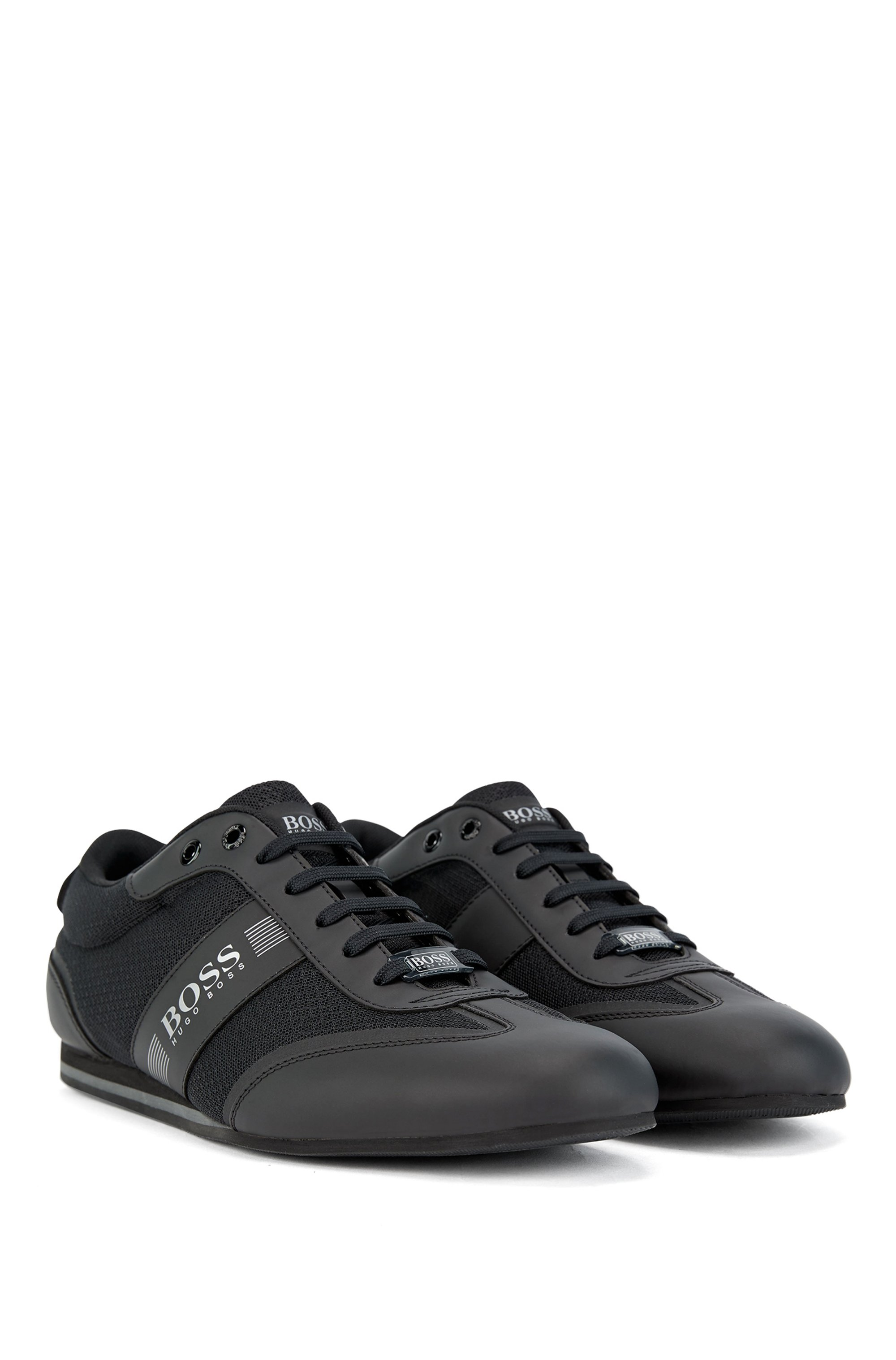 Low-profile trainers in mesh and rubberised fabric