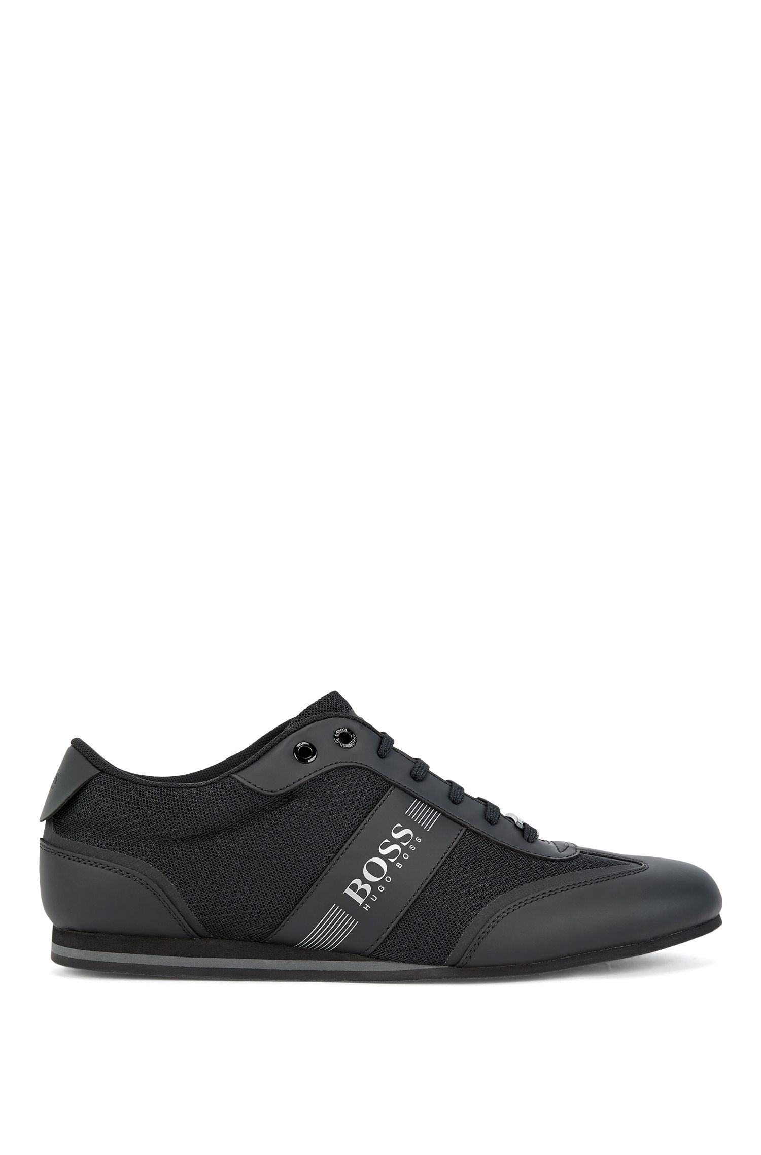Lace-up trainers with mesh detail, Black