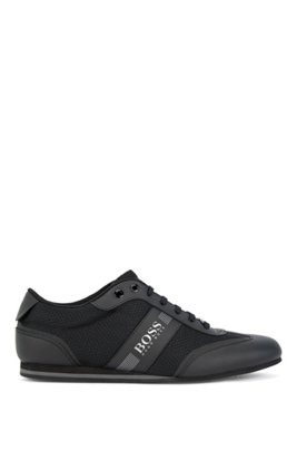 Low-profile trainers in mesh and rubberised fabric, Black
