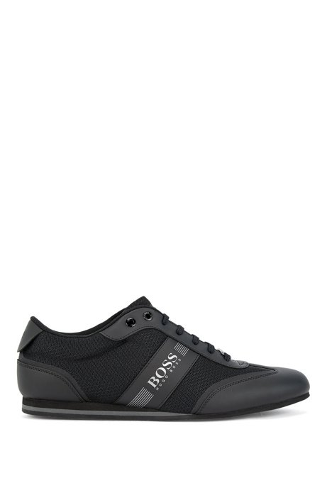 Lowtop Sneakers aus Mesh und gummiertem Stoff, Schwarz