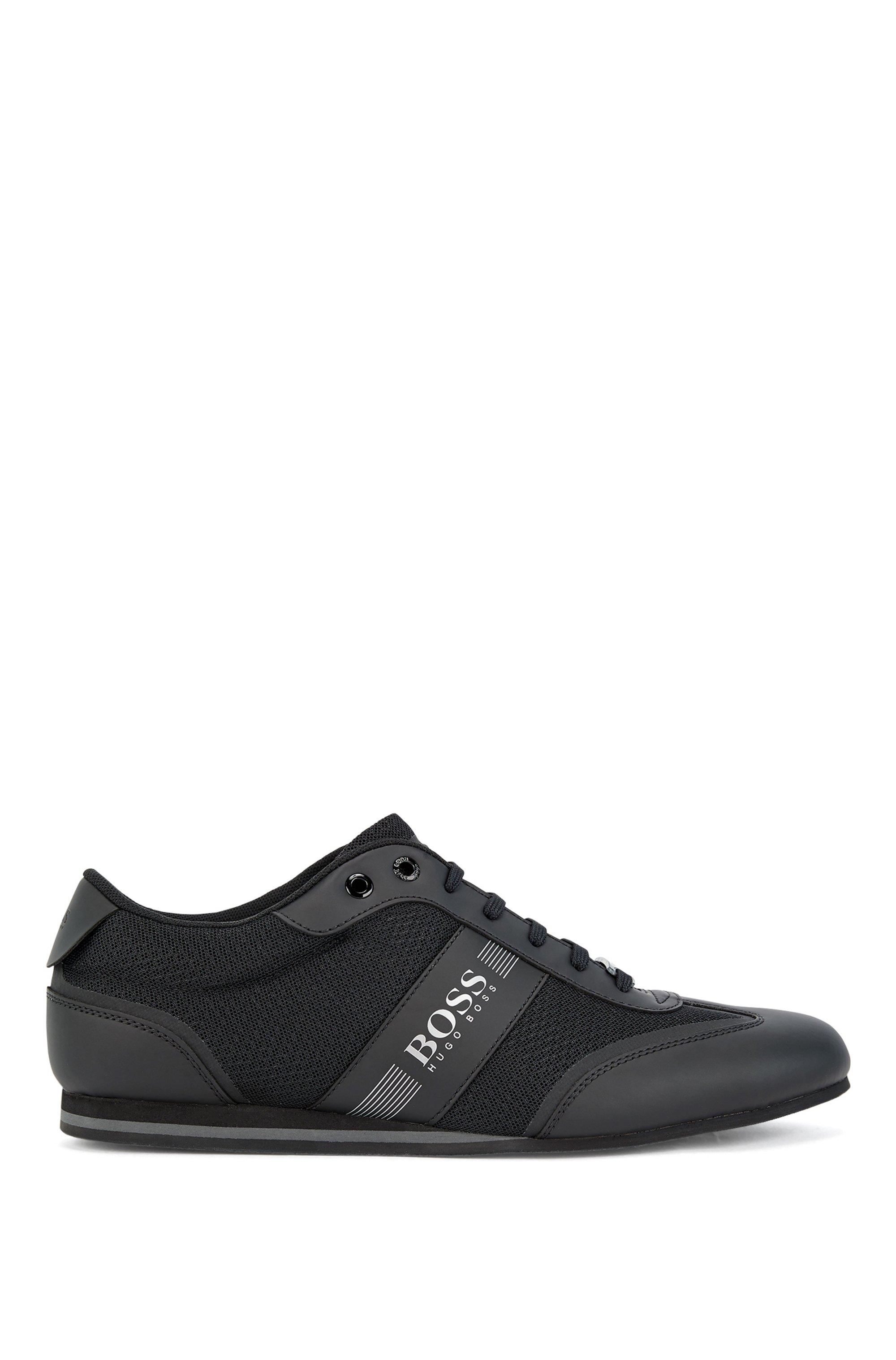 Sneakers basse in rete e tessuto gommato, Nero