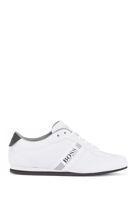 Low-profile trainers in mesh and rubberised fabric, White