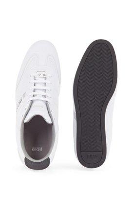 Lowtop Sneakers aus Mesh und gummiertem Stoff, Weiß