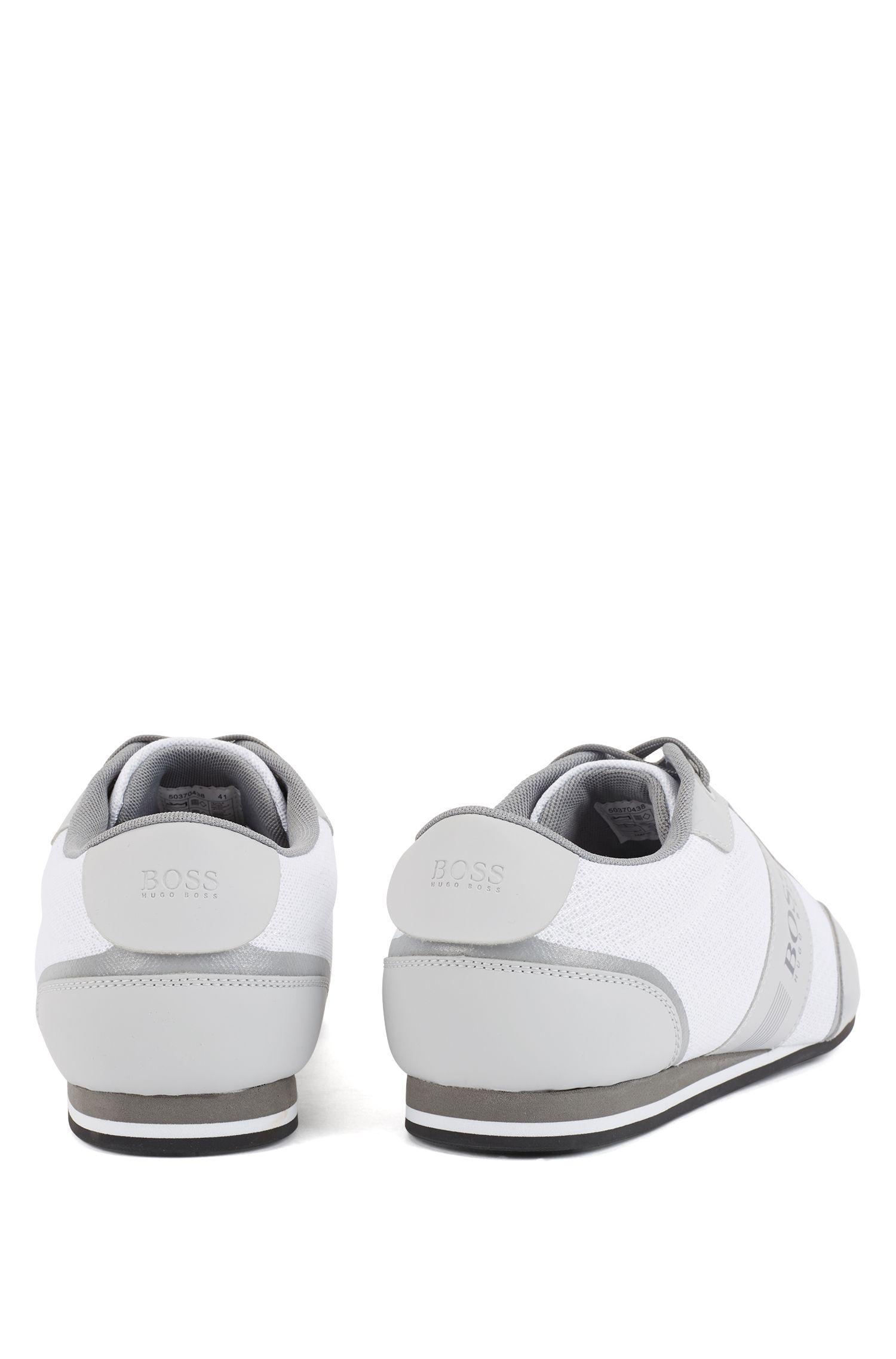 Sneakers mit Schnürung und Mesh-Detail, Natur