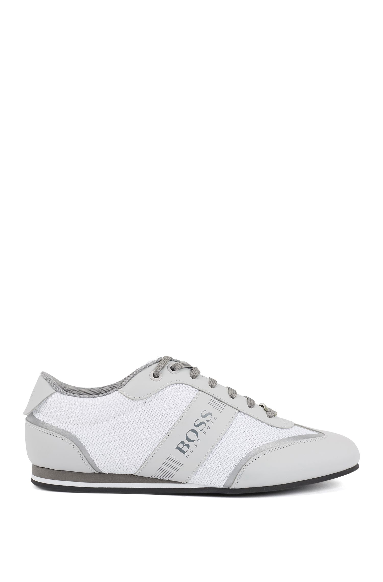 Lace-up trainers with mesh detail, Natural