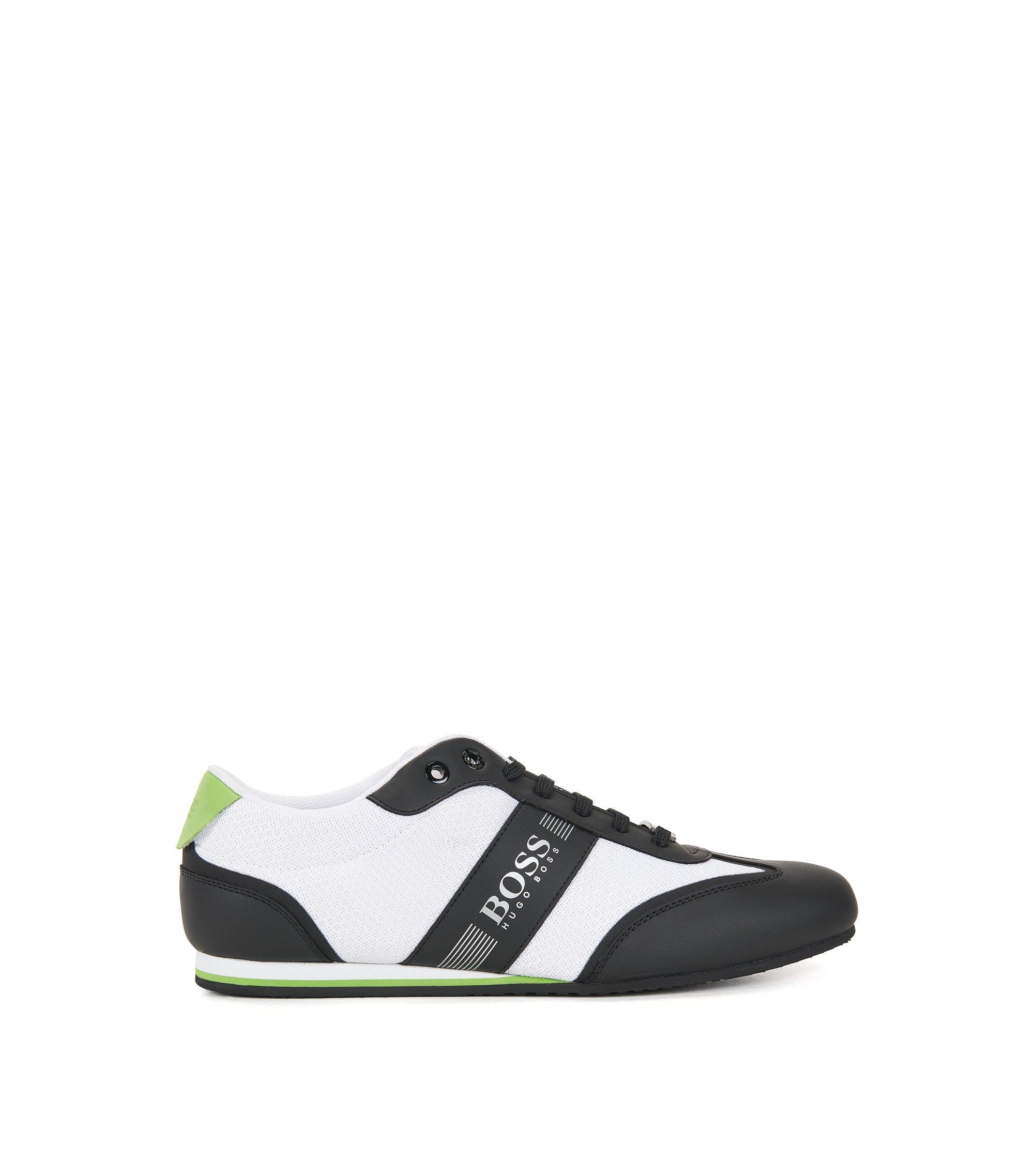 Vetersneakers met meshdetail, Wit