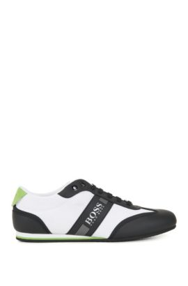 Lace-up trainers with mesh detail, Open White