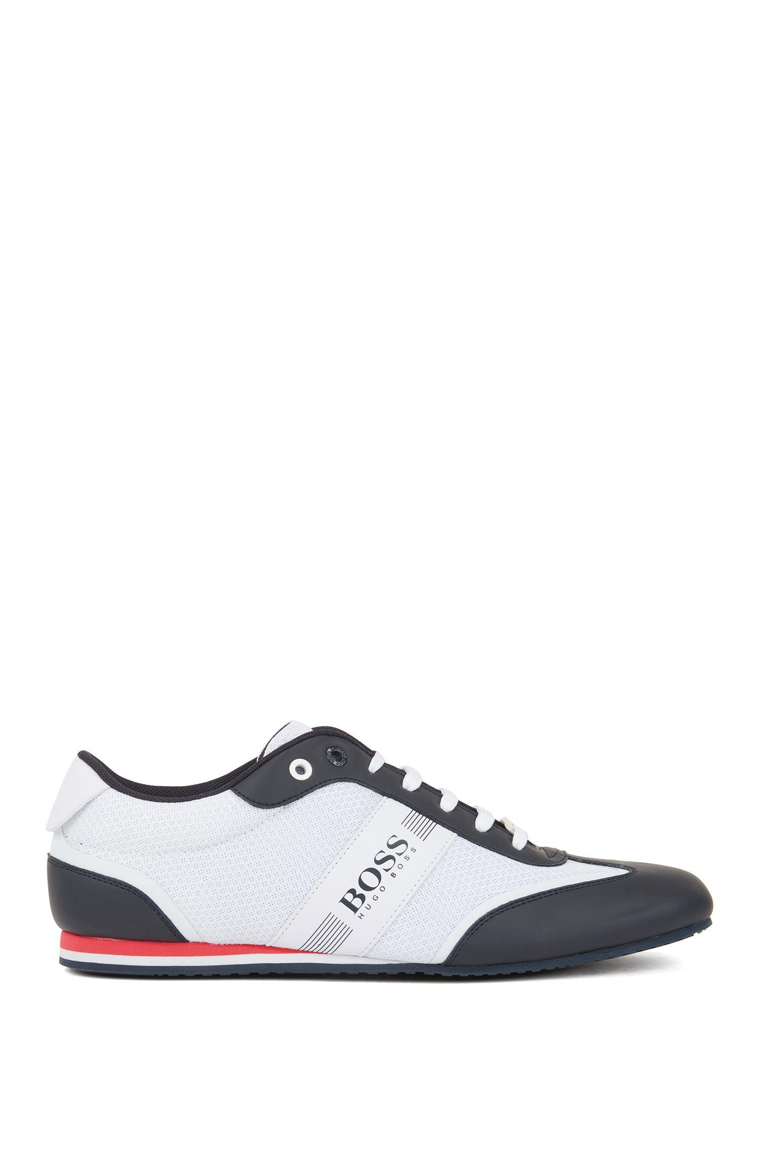 Sneakers mit Schnürung und Mesh-Detail, Weiß