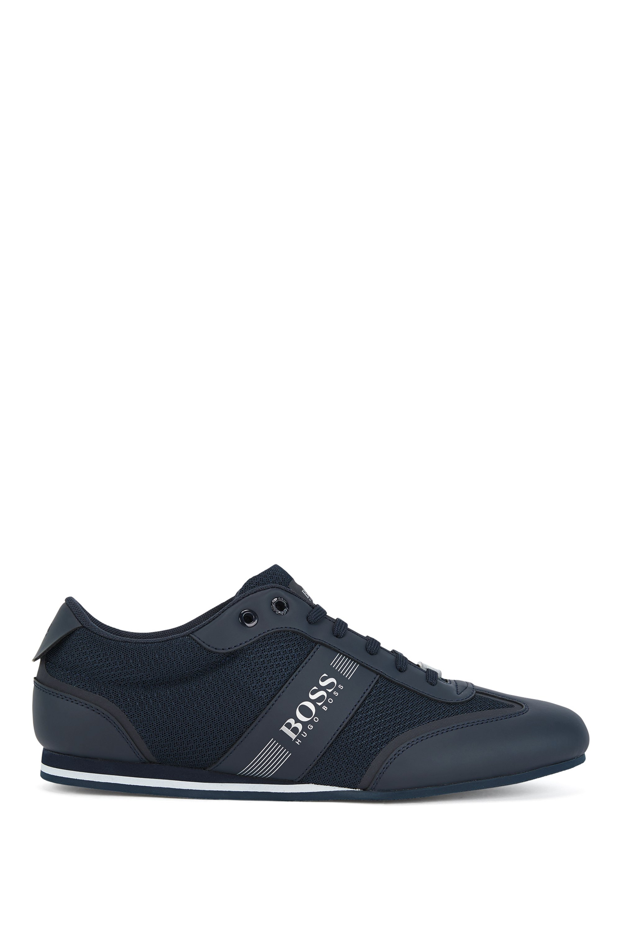 Sneakers basse in rete e tessuto gommato, Blu scuro